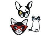 Strijk embleem 'Raining Cats and Dogs patch set (3)' – stof & strijk applicatie