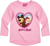 Masha-and-The-Bear-T-shirt-met-lange-mouw-roze - Maat 116