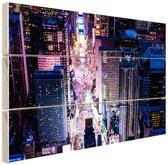 Times Square nachtlichten Hout 80x60 cm - Foto print op Hout (Wanddecoratie)