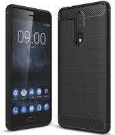 Nokia 8 - hoes, cover, case - TPU - Carbon - Zwart
