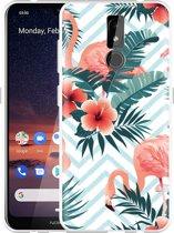Nokia 3.2 Hoesje Flamingo Flowers