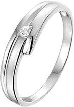 The Jewelry Collection Ring Zirkonia Poli/mat - Zilver Gerhodineerd