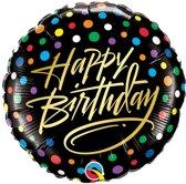 Folieballon 'Happy Birthday' Stippen Goud - 46 centimeter