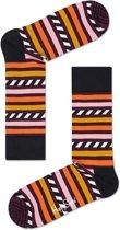 Happy Socks Stripe & Stripe Sokken - Oranje/Zwart - Maat 41-46
