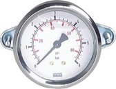 0..16 Bar Paneelmontage Manometer Staal/Messing 100 mm Klasse 1.0 (Beugel) - MW016100SH-TP