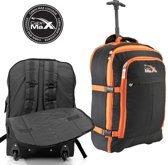 CABINMAX MALMO EXPANDABLE LAPTOP TROLLEY BACKPACK - 55x40x20cm - handbagage - rugzak - perfect for Travel Overnight Weekend (MALMO BK/OR)