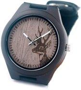 Heren horloge - zwart met horlogekast hout - hert # 11