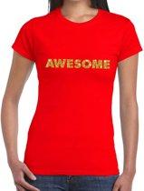 Awesome goud glitter tekst t-shirt rood dames XL