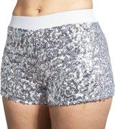 Hotpants pailletten zilver