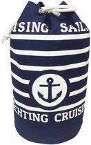 Duffel bag/strandtas zak maritiem blauw/wit Cruise 54 cm - Plunjezakken/zeiltassen met trekkoord