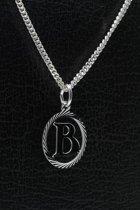 Zilveren Letter B ketting hanger - rond