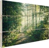 Een dichtbegroeid bos Hout 60x40 cm - Foto print op Hout (Wanddecoratie)