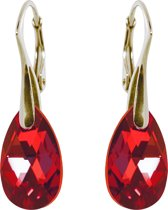 Oorbellen met Swarovski Kristal Druppel 16MM – Goudkleurig Zilver – Siam Red – Rood