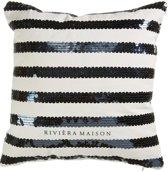 Riviera Maison Sequin Stripe Sierkussen - 43x43 Cm - Zwart Wit