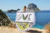 Mycha Ibiza – roundie – rond strandlaken – love – wit – 100% katoen – franje