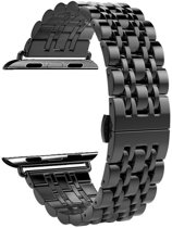 RVS zwart metalen bandje / armband voor de Apple Watch / iwatch 42mm - 44mm met vlindersluiting | Watchbands-shop.nl
