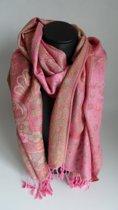 Mooie hippe sjaal van pashmina in de kleuren roze creme groen bloemenmotief breedte 70 cm lengte 180 cm.