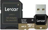 Lexar Professional micro SD kaart 64GB met USB 3.0 reader en SD adapter