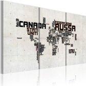 Schilderij - Kaart van de wereld, Italiaans, Zwart-Wit, 2 Maten, 3luik
