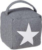 relaxdays deurstopper ster met handvat - deurstop textiel - deurvastzetter vloer - zandzak donkergrijs