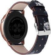 Bandje leer grey flowers geschikt voor Samsung Galaxy Watch 42mm en Galaxy Watch Active/Active 2