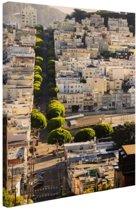 Heuvels van San Francisco Canvas 20x30 cm - klein - Foto print op Canvas schilderij (Wanddecoratie woonkamer / slaapkamer) / Steden Canvas Schilderijen