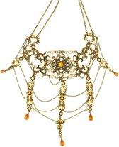 Behave® Dames Multi Layer choker ketting goud-kleur met bruine steentjes 30 cm