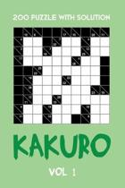 200 Puzzle With Solution Kakuro Vol 1: Cross Sums Puzzle Book, hard,10x10, 2 puzzles per page