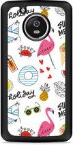 Moto G5 Plus Hardcase Hoesje Summer Flamingo