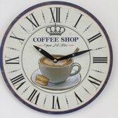 Wandklok CAFÉ SHOP retro vintage design