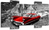Schilderij | Canvas Schilderij Oldtimer, Auto | Grijs, Rood | 120x65cm 5Luik | Foto print op Canvas