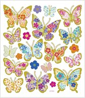 Stickers vel 15x16 5 cm 21 stuk vlinders 1vel