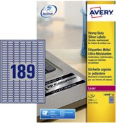 Avery ultra-sterke zilverkleurige etiketten formaat 245 x 10 mm (b x h) 3.780 stuks 189 per blad