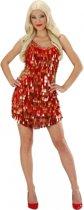 Rood met gouden pailletten jurk L