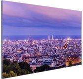 Barcelona skyline bij schemering Aluminium 180x120 cm - Foto print op Aluminium (metaal wanddecoratie) XXL / Groot formaat!