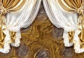 Fotobehang Golden Curtains   XL - 208cm x 146cm   130g/m2 Vlies