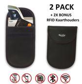 Autosleutel RFID Anti-Diefstal Hoesjes (2x) + 2 RFID block betaalpas sleeves | Keyless Entry Signaal Blokkerende Beschermhoes | Anti Diefstal & Inbraak | Qwality | GRATIS VERZENDING
