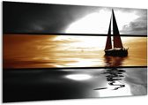 Canvas schilderij Boot | Sepia, Bruin | 120x70cm 1Luik