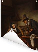 De kandeelmakers - Schilderij van Jan Steen Tuinposter 120x160 cm - Tuindoek / Buitencanvas / Schilderijen voor buiten (tuin decoratie) XXL / Groot formaat!