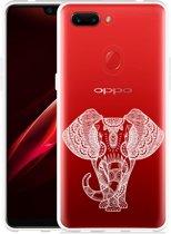 Oppo R15 Pro Hoesje Elephant Mandala White