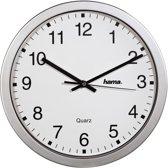Hama Wall Clock - Klok - Rond - Kunststof - Ø30 cm - Zilver