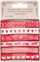 Ribbon 6 stuks x 1 meter, 10 mm breed rood valentijn