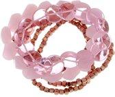 Setje van rosé en roze kleurige armbandjes