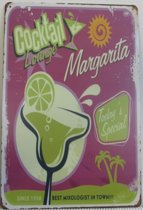 MARGARITA COCKTAIL - DRANK CAFE BAR KROEG METALEN - WANDDECORATIE - RECLAMEBORD - MUURPLAAT - VINTAGE  - RETRO - WANDBORD - TEKST - DECORATIEBORD - NOSTALGIE - 30x20 cm nr 428