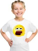 Smiley/ emoticon t-shirt moe wit kinderen XL (158-164)