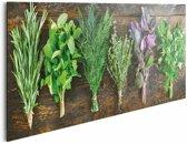 Verse kruiden op hout - Schilderij 90 x 30 cm