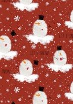 Donkerrood kerst cadeaupapier inpakpapier Sneeuwpop - Toonbankrol breedte 40 (breedte rol)cm - 200m lang - K691876/3 -40cm-