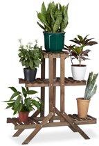 relaxdays - plantenrek 3 etages - plantentrap van hout - bloementrap - bloemen chocoladebruin
