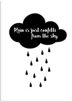 Zwart wit poster Rain is just confetti from the sky DesignClaud - A2 + Fotolijst wit