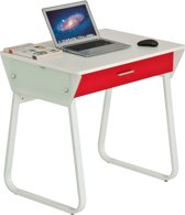Piranha TOPE Bureau / Computerbureau - Compact - Wit met Rode Lade - PC41s